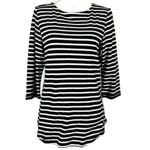 Black White Stripe 100% Cotton Med Blouse